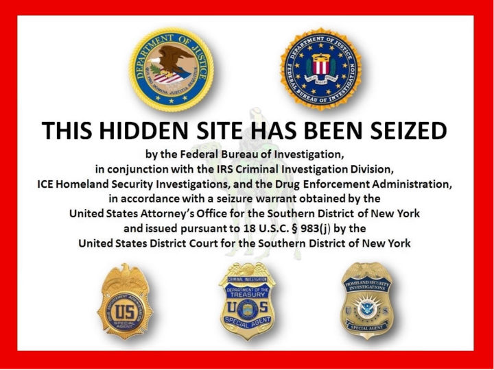 Melding van FBI op Silk Road homepage